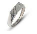 Gents sterling silver three stripe fashion ring set in a swiss setting with white round cubic zirconia