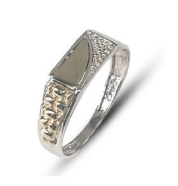 Gents two-tone sterling silver & 9k yellow gold pave fashion ring set with white round cubic zirconia
