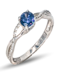 Ladies sterling silver solitaire side stone dress ring set with round blue & white cubic zirconia's