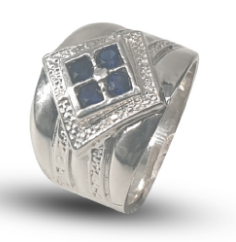 Ladies sterling silver dress ring set with blue princess cut cubic zirconia's