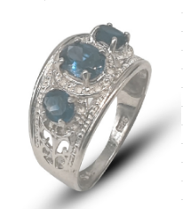 Ladies sterling silver three-stone filigree dress ring set with blue cubic zirconia's