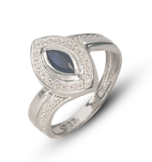 Ladies sterling silver pave dress ring set with blue marquise sapphire cubic zirconia