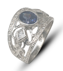 Ladies sterling silver 925 ornate dress ring set with oval blue & white square cubic zirconia's