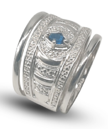Ladies sterling silver 925 ornate trip dress ring set with oval blue cubic circonia