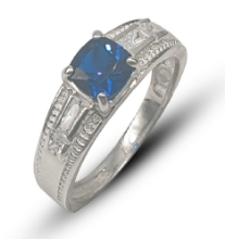 Ladies sterling silver 925 dress ring set with blue & white cushion cut cubic zirconia