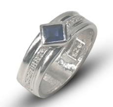 Ladies sterling silver 925 wedding band set with square blue cubic zirconia