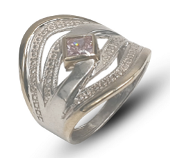 Ladies Two-Tone Sterling Silver And 9k Yellow Gold Dress Ring Set With Square Pink Cubic Zirconia.
