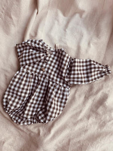 Chocolate check baby onesie