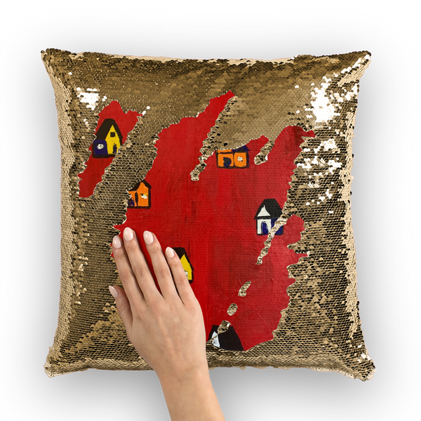 Mom's Houses Sequin Cushion Cover