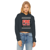 Fire Your Boss And Go Racing Ladies Cropped Raw Edge Hoodie