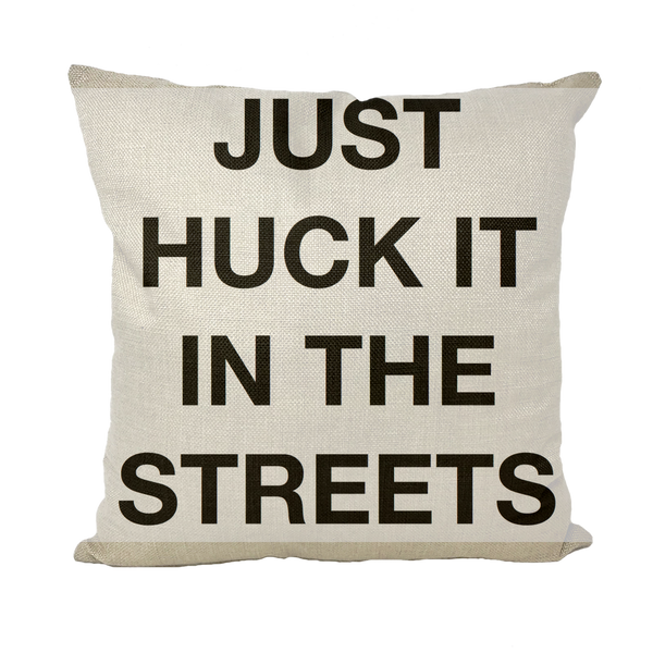 huck it Throw Pillows