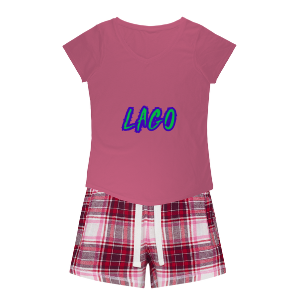 ELECTRIC NEON LAGO Girls Sleepy Tee and Flannel Short
