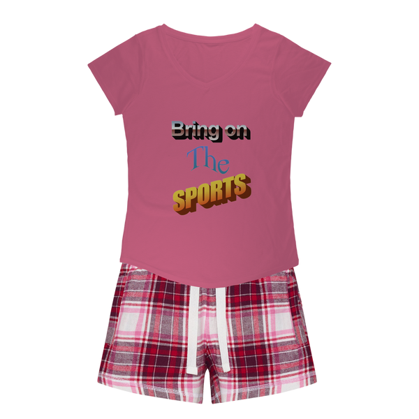 Bring On The Sports Girls Sleepy Tee and Flannel Short