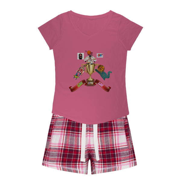 Lago Boys Coat of Arms Girls Sleepy Tee and Flannel Short