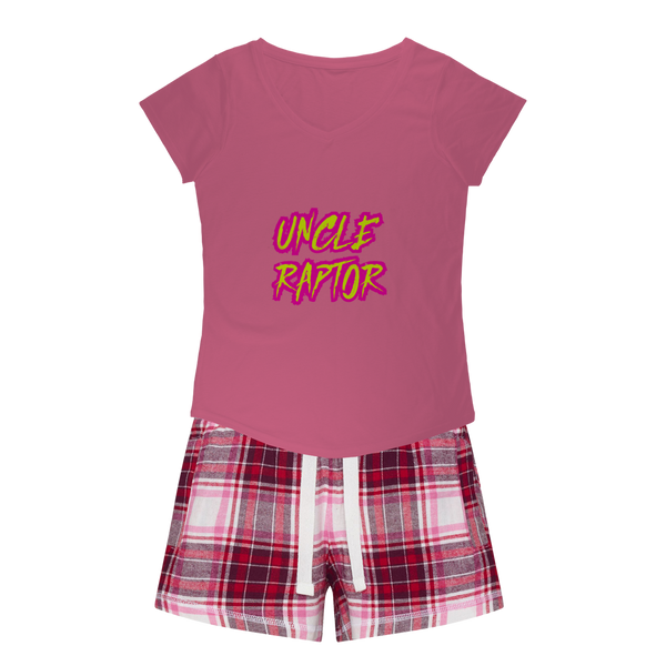 Uncle Raptor Girls Sleepy Tee and Flannel Short