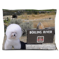 Cute and Funny Extreme Tourist Bichon Frise He Totally Won't Fall Into That River And Be Boiled LOL Dog Bed
