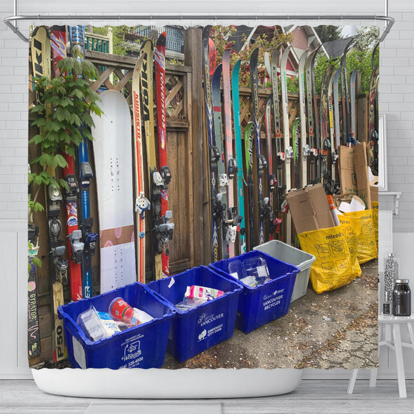 East Vancouver Ski Fence Shower Curtain