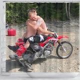 Shirtless Men in Love On A Dirt Bike Shower Curtain