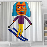 A Very Tall Skier Shower Curtain