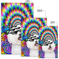 Trippy Party Pooch Bichon Frise Area Rug