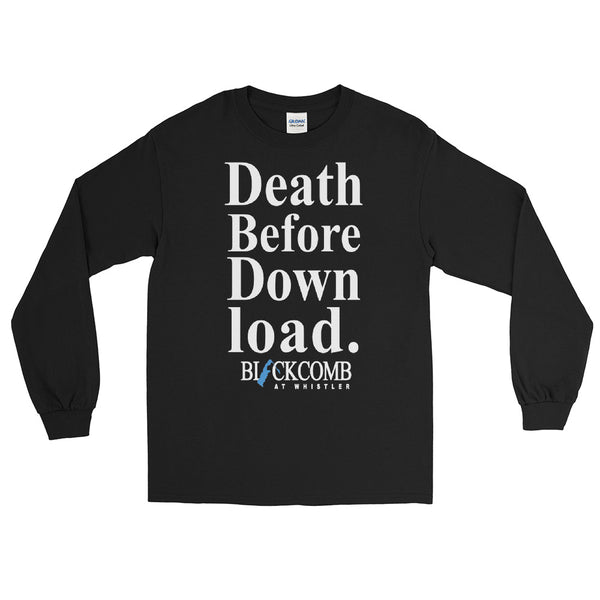 Death Before Download, Blackcomb, Retro Whistler, Vintage Crewneck, Ski Sweater, Ski Shirt, Whistler Gift, Skiing Men's Long Sleeve Shirt