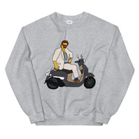 Uncle Raptor Cruises Miami on a Scooter  Unisex Sweatshirt