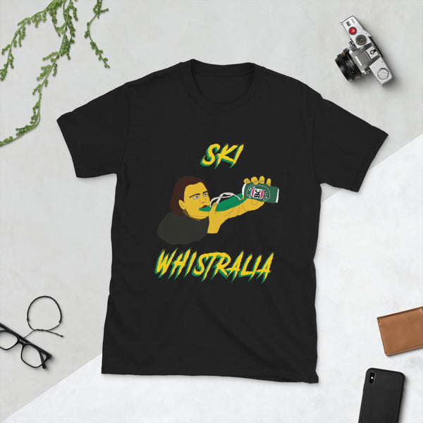 Ski Whistralia Whistler Canada Australia Beer Party Short-Sleeve Unisex T-Shirt