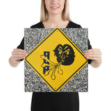 Angry Cloud Crosswind Sign Canvas