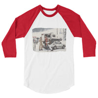 SAAB 900 Toppola Retro Skiing Sweden Europe Ski Alps 3/4 sleeve raglan shirt