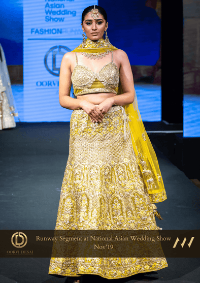 Chrome Yellow Diamond & Crystal Wedding Reception Party Outfit at Oorvi Desai London