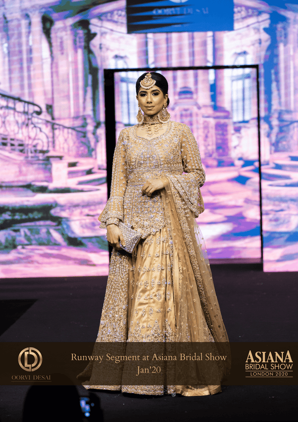 Golden Net & Diamante studded Jacket style lehanga set with trail and dupatta at Oorvi Desai London
