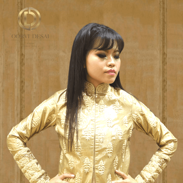 Golden Full Sleeves Top Blouse with Chinese Collar