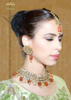 'Ragini', Kundan Tikka Orange Bridal Set by Oorvi Desai