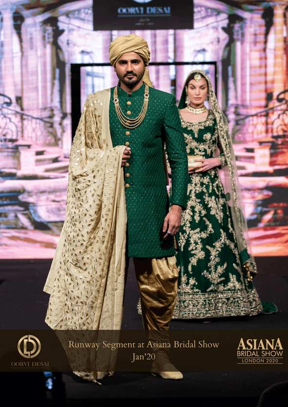 Glorious Green Velvet Gown trail With Beige Net Dupatta