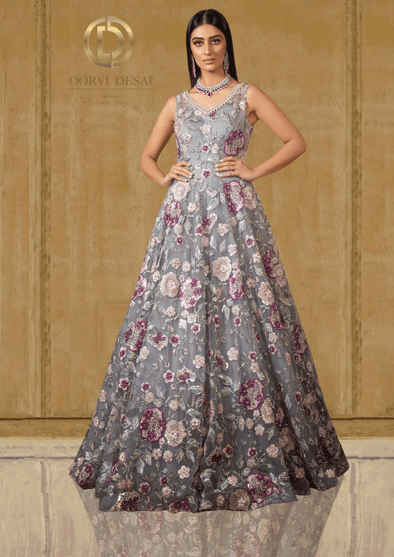 Dusky Grey Georgette Reception Party Gown with Mulberry & Nude Peach Floral Embroidery at Oorvi Desai London