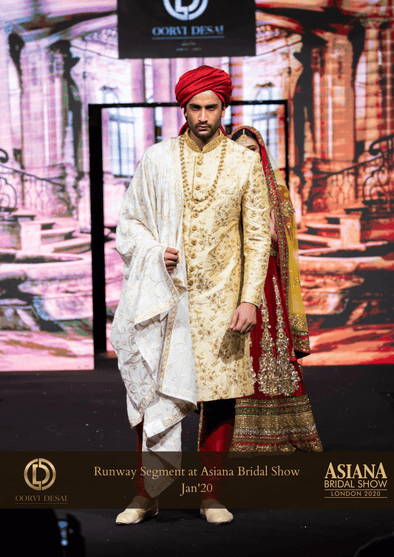 Beige Cream Gold Wedding Raw Silk Embroidered Sherwani