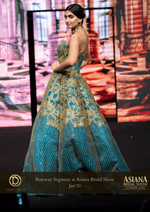 Teal Blue and Gold Overlapping Flap Designer Show-stopper Gown at Oorvi Desai