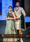 Golden and Green Net Mehendi Party Lehenga with Net Dupatta at Oorvi Desai London