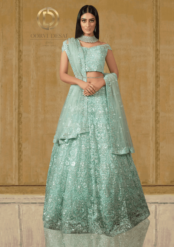 Off Shoulder Pastel Green Wedding Reception Party Outfit with Net Dupatta at Oorvi Desai London