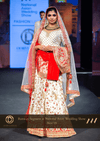 Traditional White and Red Raw Silk Wedding Bridal Paanetar Lehenga with Dual Georgette Dupattas.