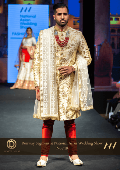Royal Beige /Gold / Maroon Embroidered Raw Silk Wedding Sherwani