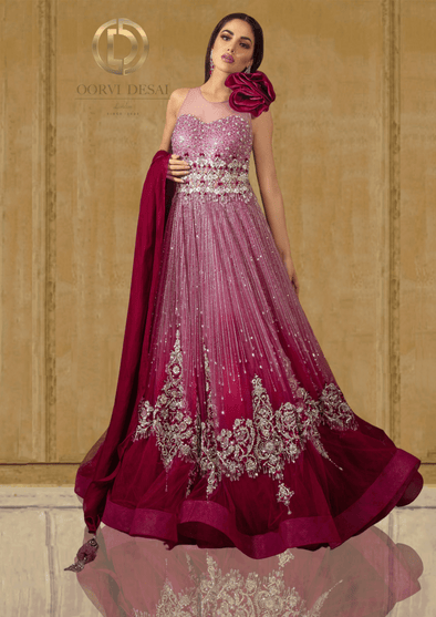 Roseate Pink Shaded Net Reception Party Gown with Crystals and a Rose Stole at Oorvi Desai London