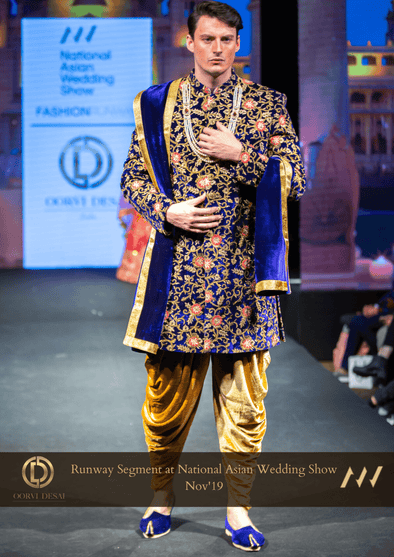 Magnificent Midnight Blue Velvet Sherwani with Golden Dhoti at Oorvi Desai London