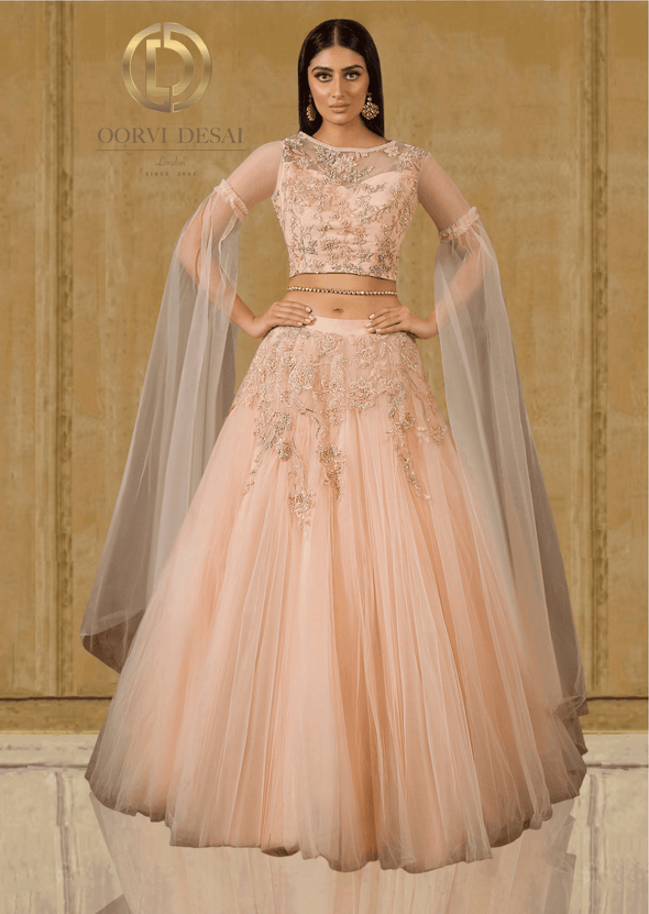 Peach Floor - Length Sleeves Party Crop Top and Skirt