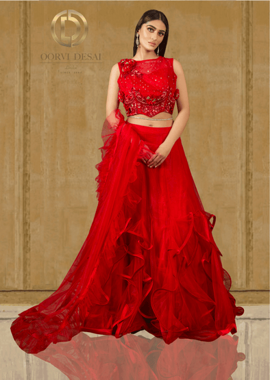 Scarlet Red Net Party Crop Top & Frill Skirt