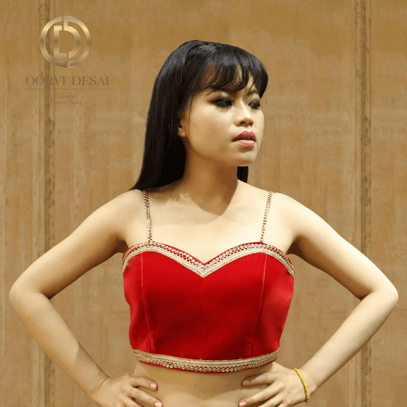 Bright Red Velvet Strapped Cami Blouse with Golden Strap