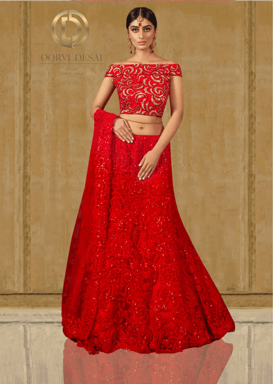 Dazzling Red Chikankari Skirt with Red & Gold Embroidered Top