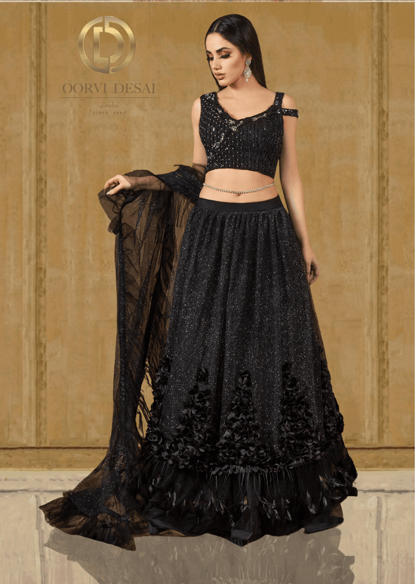 Shimmer Net Black Party Crop Top & Skirt with Applique work