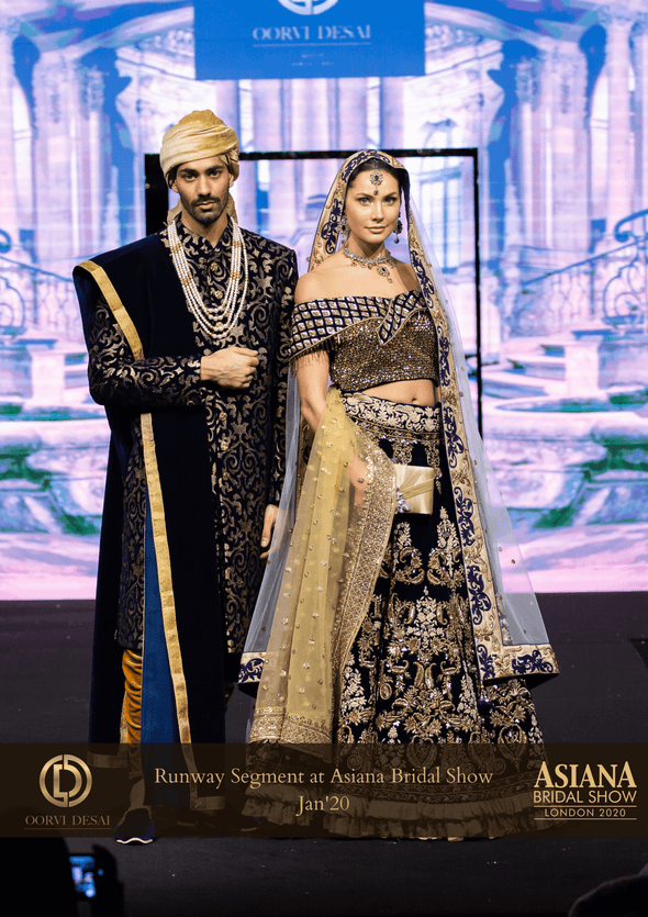 Luxorious Midnight Blue Velvet & Gold Sherwani