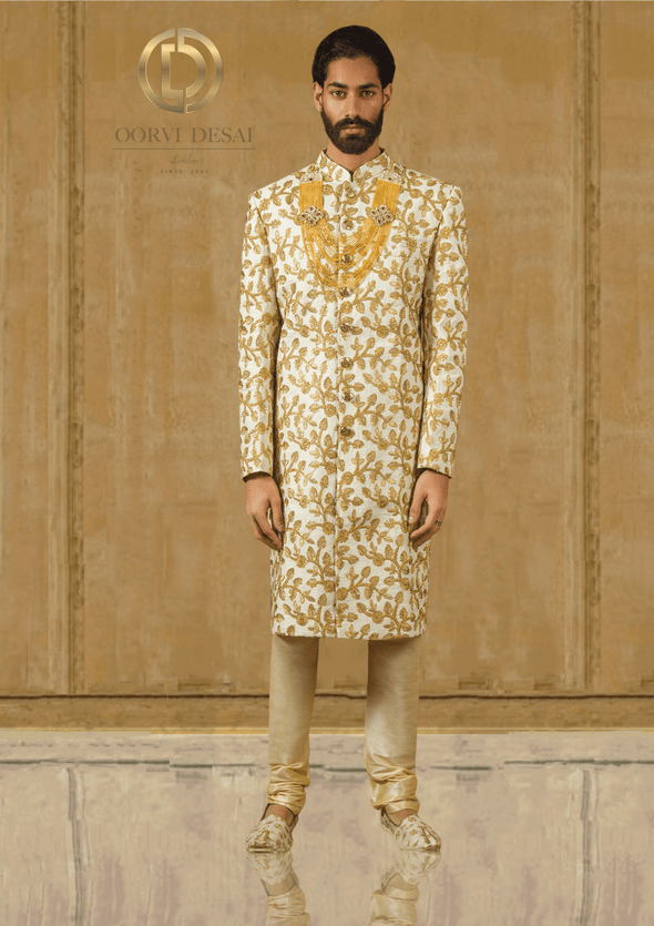 Gold Embroidered Cream Wedding Raw Silk Sherwani